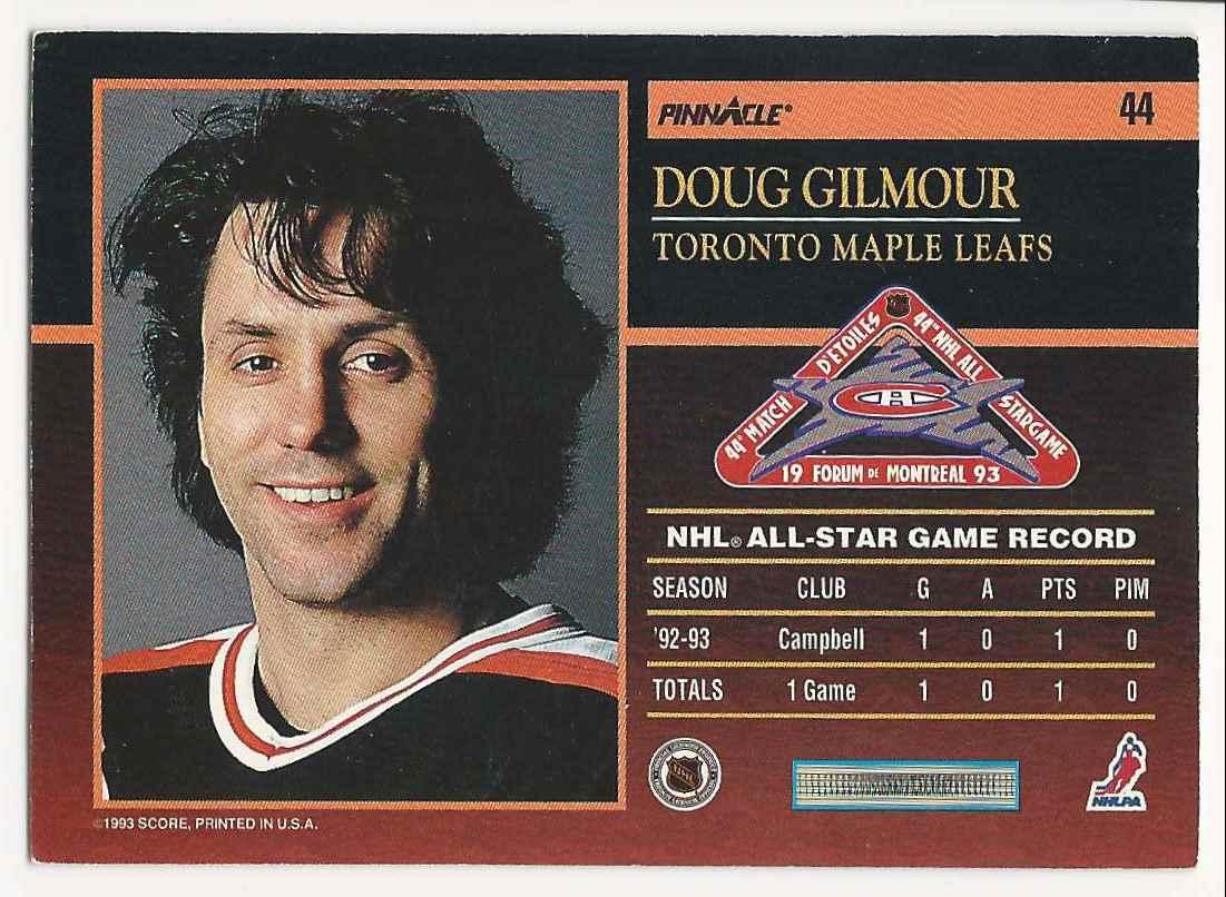 1993-94 Pinnacle All-Stars Doug Gilmour #44 card back image
