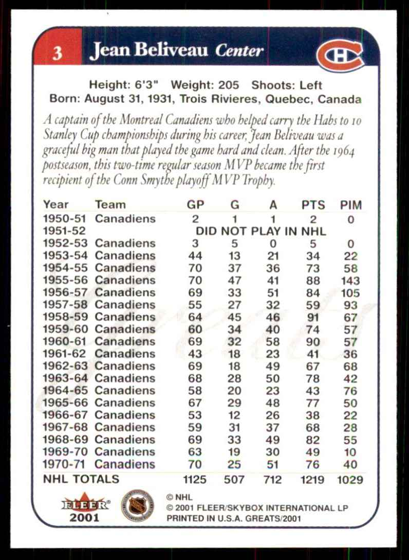 2001-02 Fleer Greats Of The Game Jean Beliveau #3 card back image