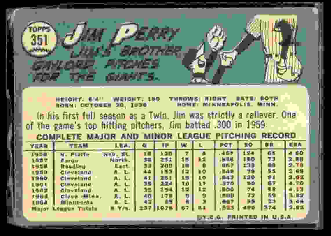 1965 Topps Jim Perry #351 card back image