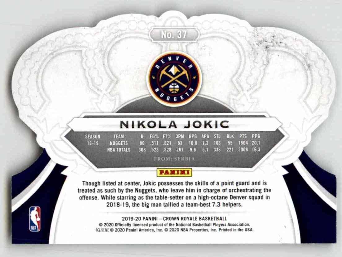 2019-20 Crown Royale Nikola Jokic #37 card back image