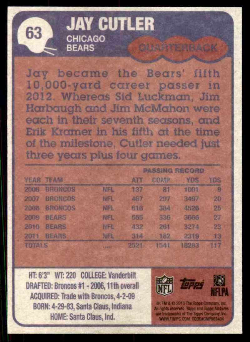 2013 Topps Archives Jay Cutler #63 card back image