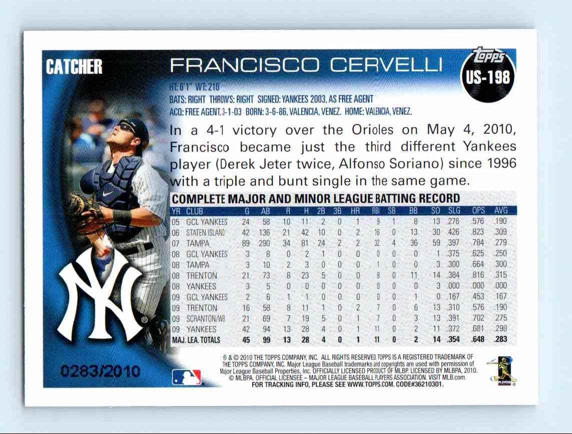 2010 Topps Update Gold Border Francisco Cervelli #US-198 card back image