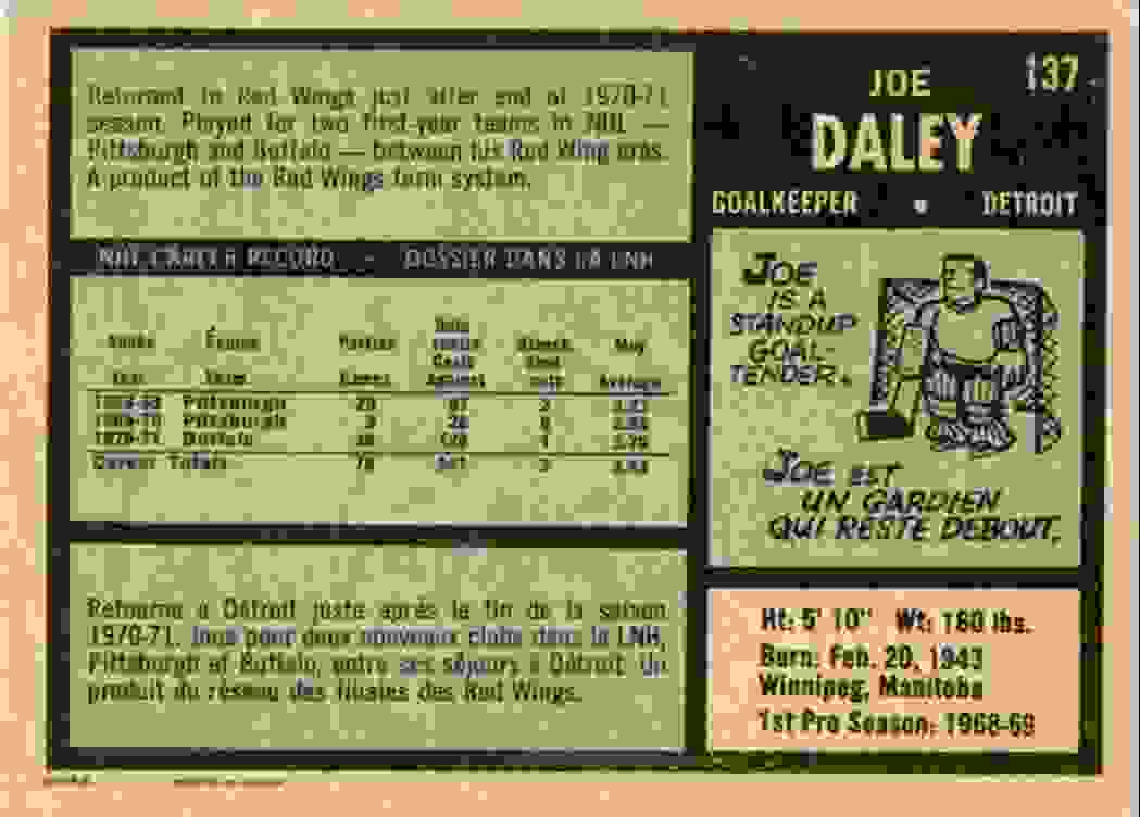 1971-72 O-Pee-Chee Joe Daley #137 card back image