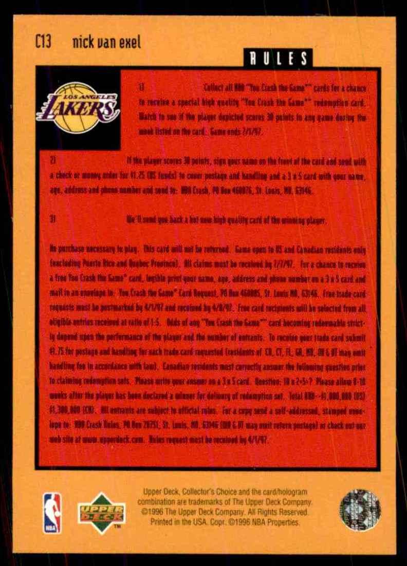 1996-97 Collector's Choice Crash The Game Nick Van Exel #C13 card back image