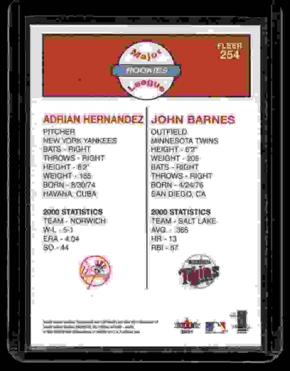 2001 Fleer Platinum Adrian Hernandez John Barnes #254 card back image