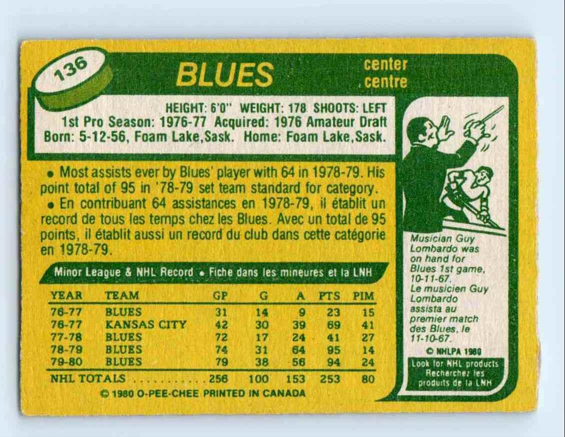 1980-81 O-Pee-Chee Bernie Federko #136 card back image