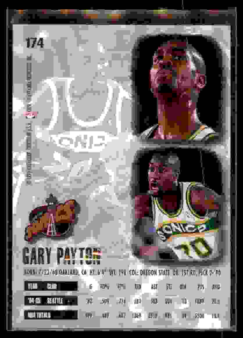 1995-96 Ultra Gold Medallion Gary Payton #174 card back image