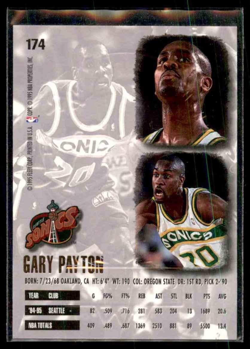 1995-96 Ultra Gold Medallion Gary Payton #174 card back image