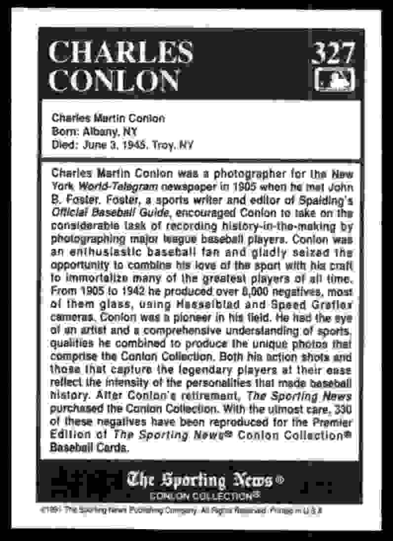 1991 Conlon Tsn Charles Conlon #327 card back image