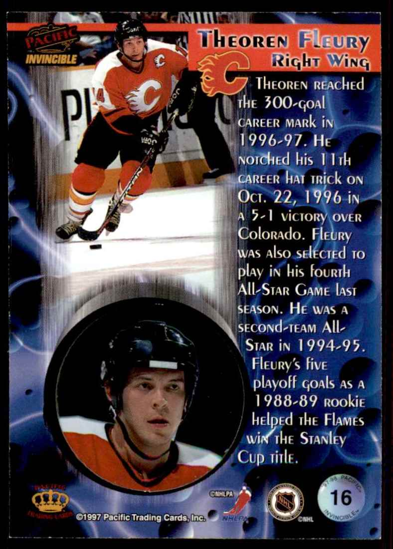 1997-98 Pacific Invincible Theo Fleury #16 card back image