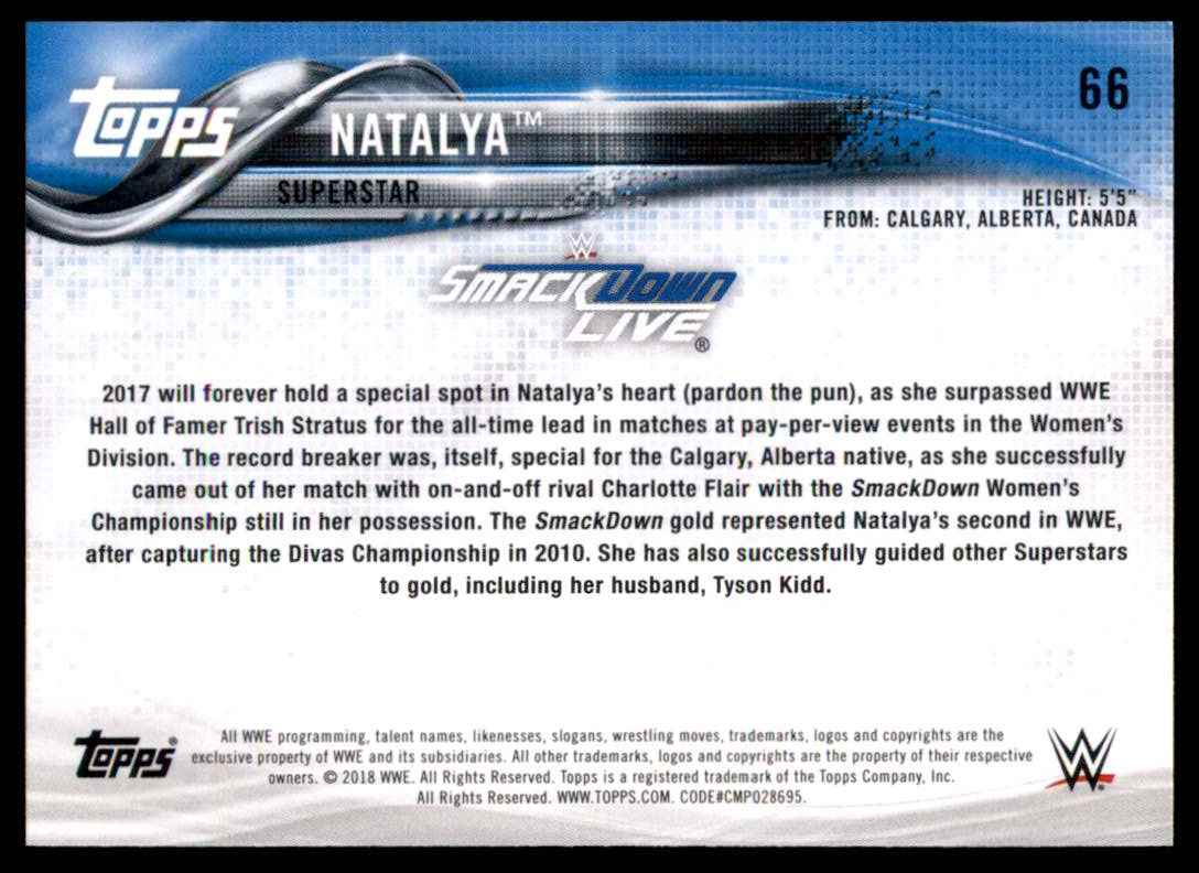 2018 Topps Wwe Bronze Natalya #66 card back image