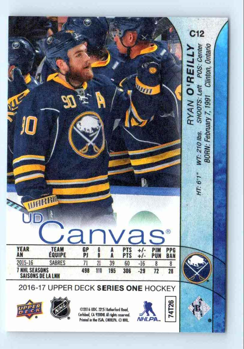 2015-16 Upper Deck Canvas Ryan O'Reilly #C12 card back image