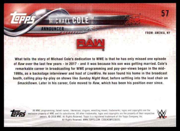 2018 Topps Wwe Michael Cole #57 card back image