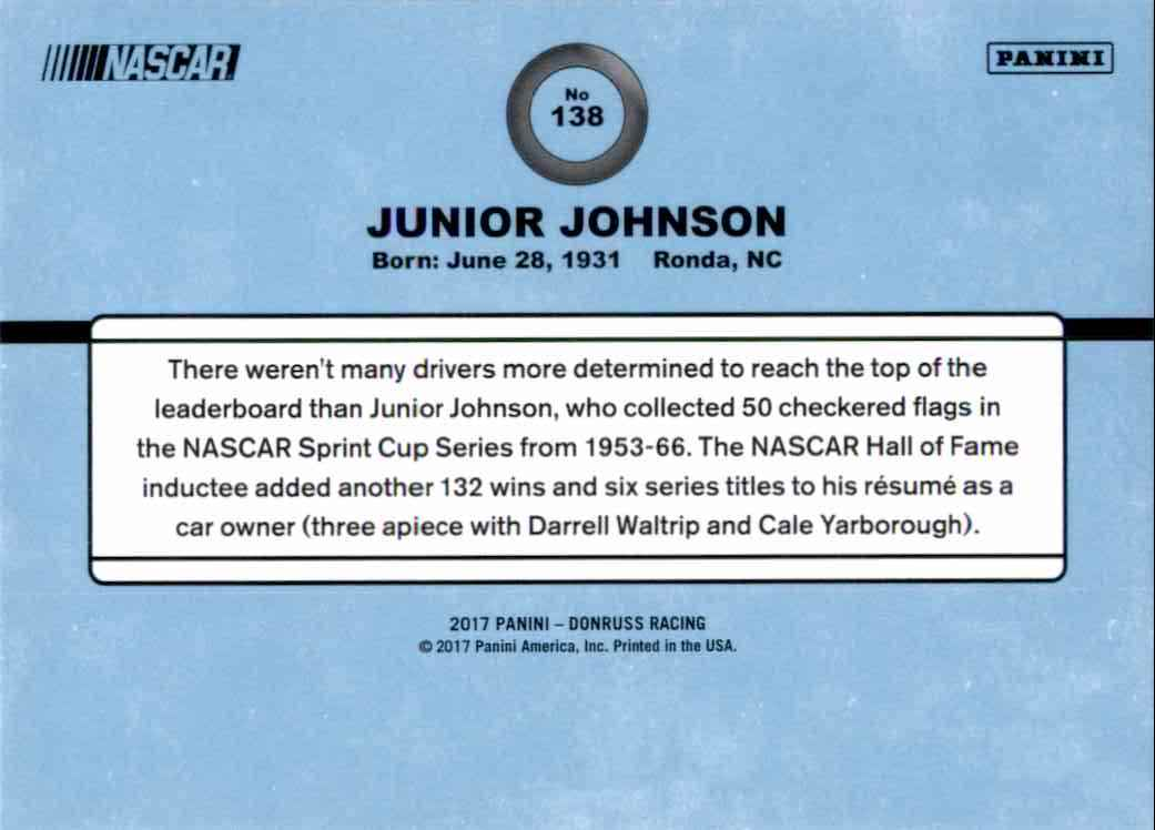2017 Donruss Junior Johnson #138 card back image