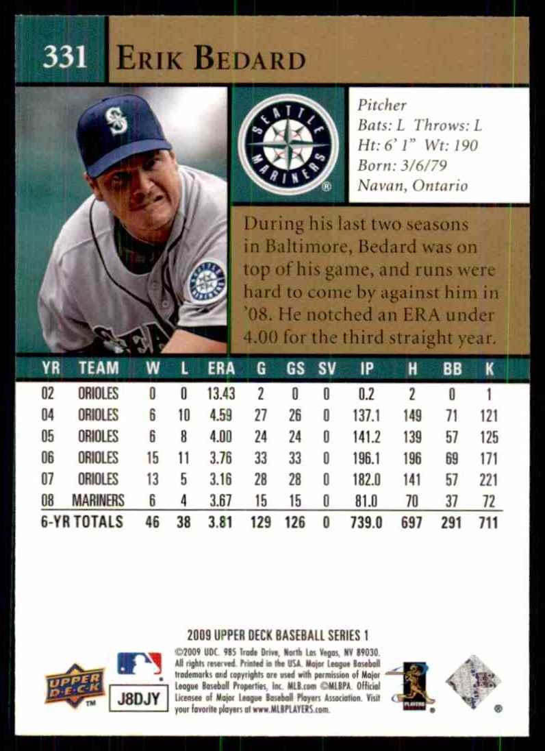 2009 Upper Deck Erik Bedard #331 card back image