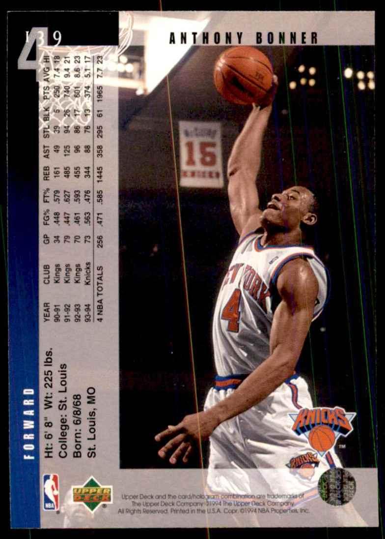 1994-95 Upper Deck Anthony Bonner #139 card back image