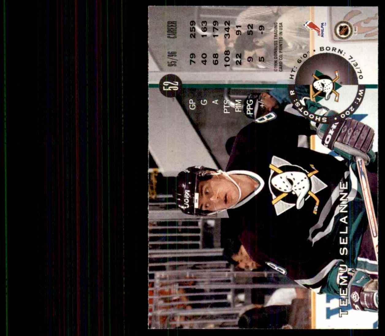 1996-97 Leaf Teemu Selanne #52 card back image